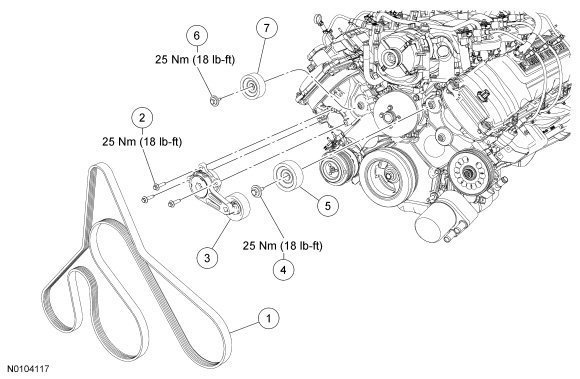 Ford F150 F250 How To Replace Serpentine Belt 359906 on 2000 ford f 150 serpentine belt diagram