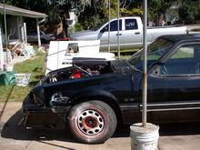 side view of motor in car