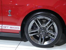 2010 Ford Mustang Shelby GT500 Passenger Side Badge and Wheel Close Up