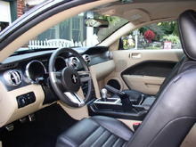 Two-tone interior with black leather seats