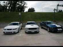 Lee's cobra, Eddie's blown gt and my gt 500 at yorktown beach.