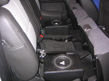 "Sub boxes in 2008 Avalanche(2-8"" JL w3, sealed box with rhino lined top cover plate and black vinyl)"