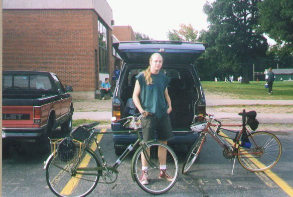 33101b5dc44 My son with his Schwinn 10-speed on the right and my Sports on the left. We  were getting ready to ride the MHCC half century on September 9, 1997.