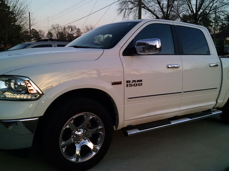 My RAM with www.sportwing.com Chromeline side molding to protect it from careless drivers. Easy install, great price.