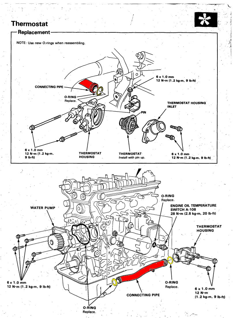 2002 Honda Civic Ex Engine Diagram O Ring Wiring 96 Accord Replacing The Connecting Pipe Thermostat To Water Pump Page 2 Rh Tech Com 98 Window Motor Vtec