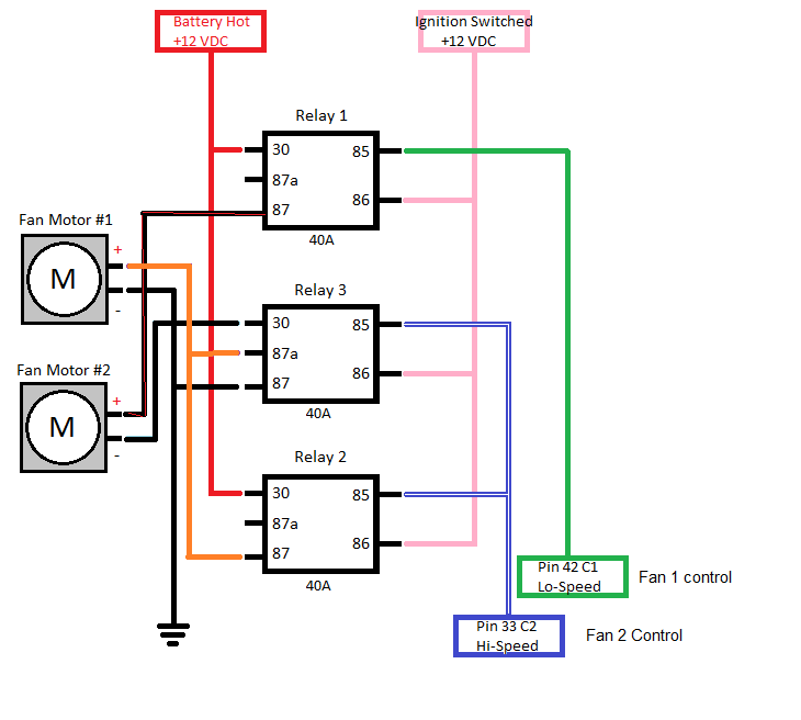 dual cooling fan wiring with trinary switch and ls1 pcm