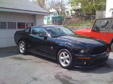 Start of the appearance mods. GT500 Fascia(with pony badging), Side Window Louvers, and Small Antenna