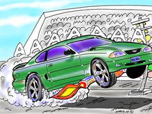 CARtoon of Jack's 98 coupe