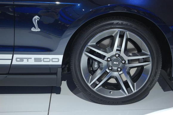 2010 Ford Mustang Shelby GT500 Badge and Wheel Close Up