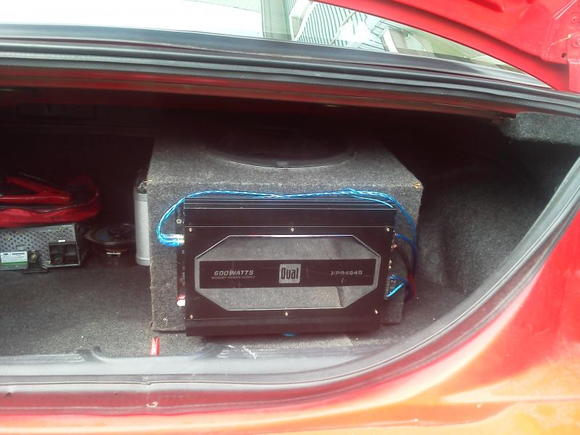 "600 watt sub mounted to the box of my 12"" Audiobahn Dub Edition"