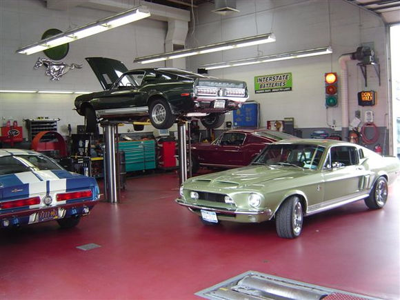 My shop on a busy muscle car day
