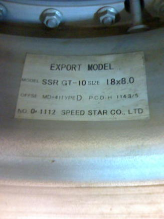Pic of the wheel label that i need for the Gt it is a SSR GT-10