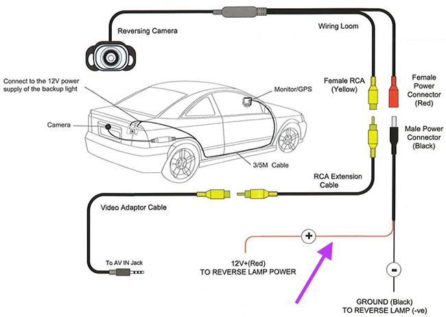 wire into the 12+ (red) to reverse lamp power wire with the purple  arrow by running a separate