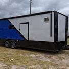 Silver/Blue 8.5x24 Racing Trailer w/Full Bath