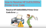 +1-888-877-0901 How to Fix HP Printer Error Code OX83C0000A
