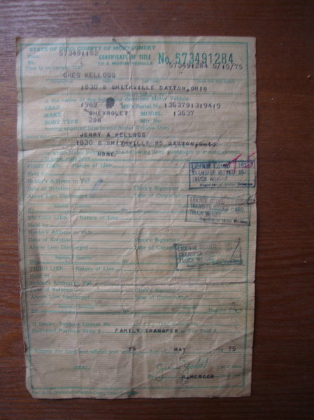 historical document 1969 Chevelle 2 dr Ohio Title CLEAN It w  for Sale $250