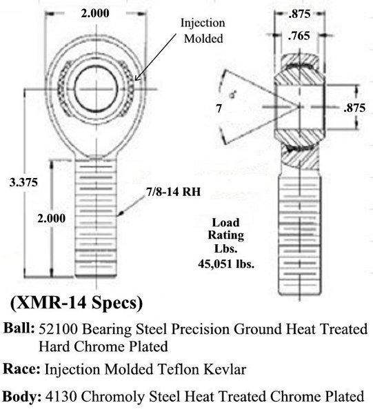 7/8 X 7/8-14 Chromoly Male RH Rod End XMR-14  for Sale $27