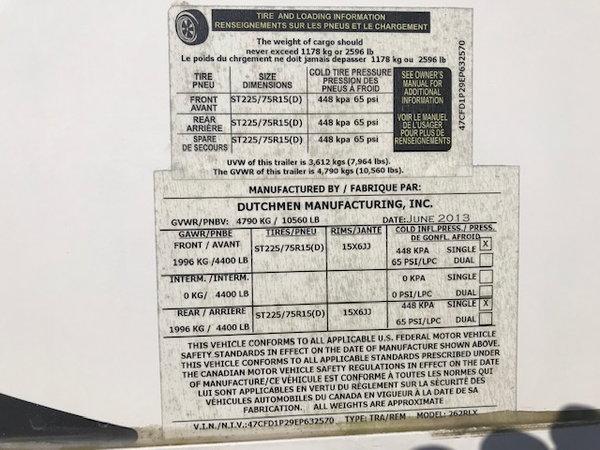 2014 Denali Fifth Wheel Model 262 RLX  for Sale $18,900