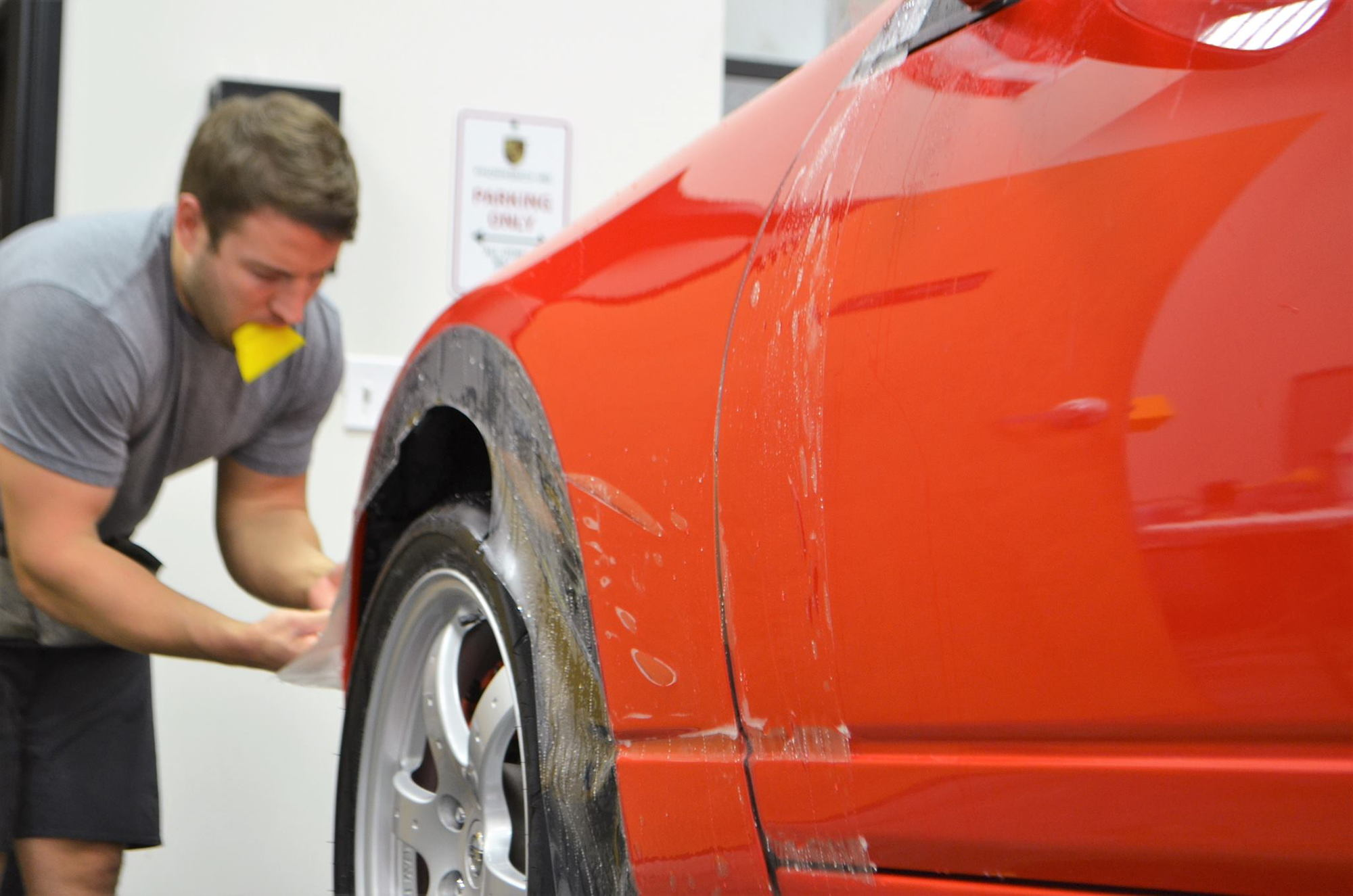 Paint protection film ppf or clear bra is designed to protect automotive finishes from rock chips damage from road debris rubber marks scratches and