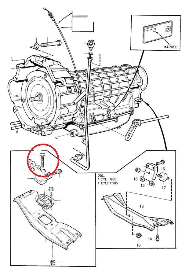 automatic transmission mount stud bolt