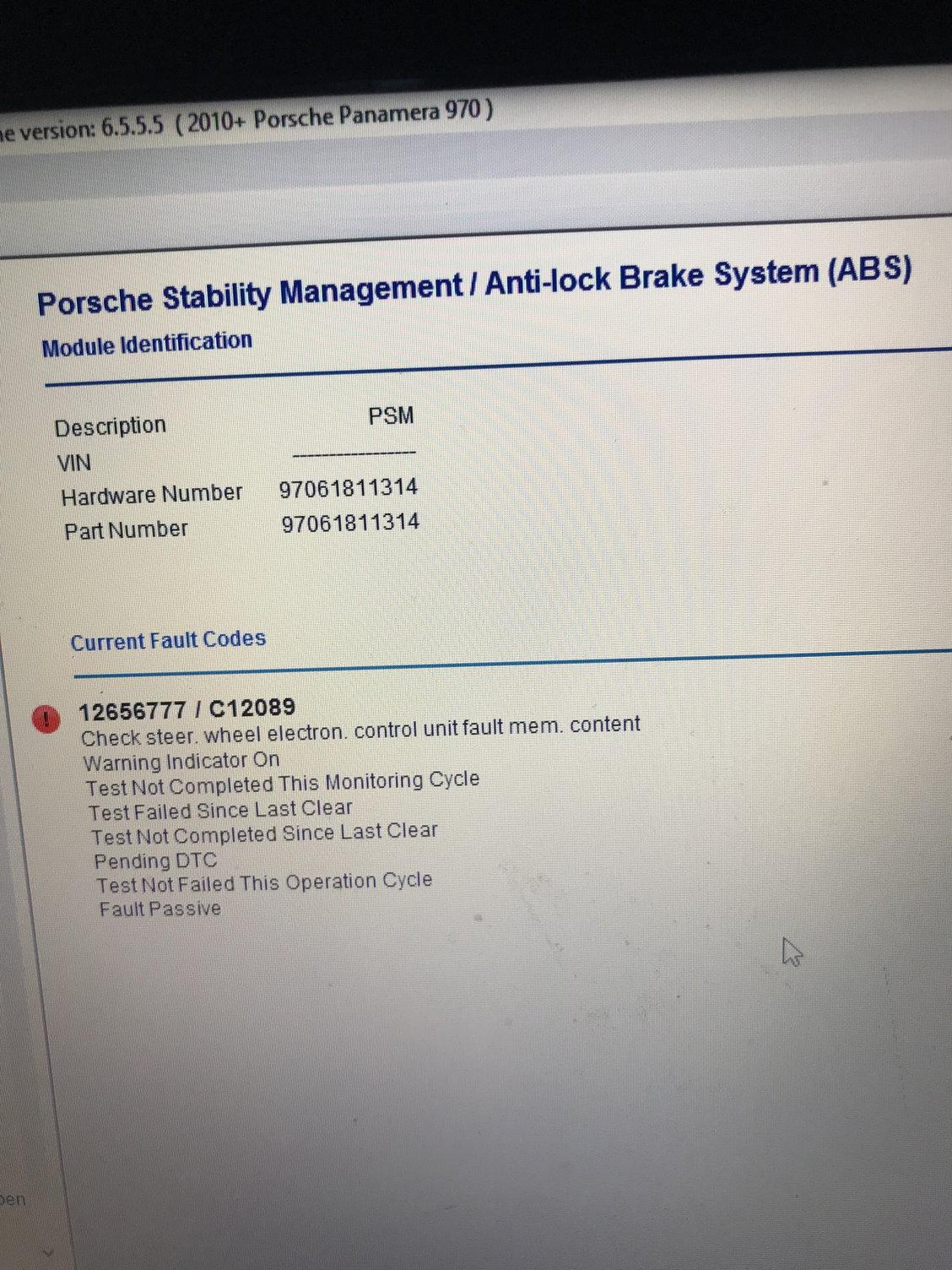 Porsche panamera Psm failure /Durametric Error shown