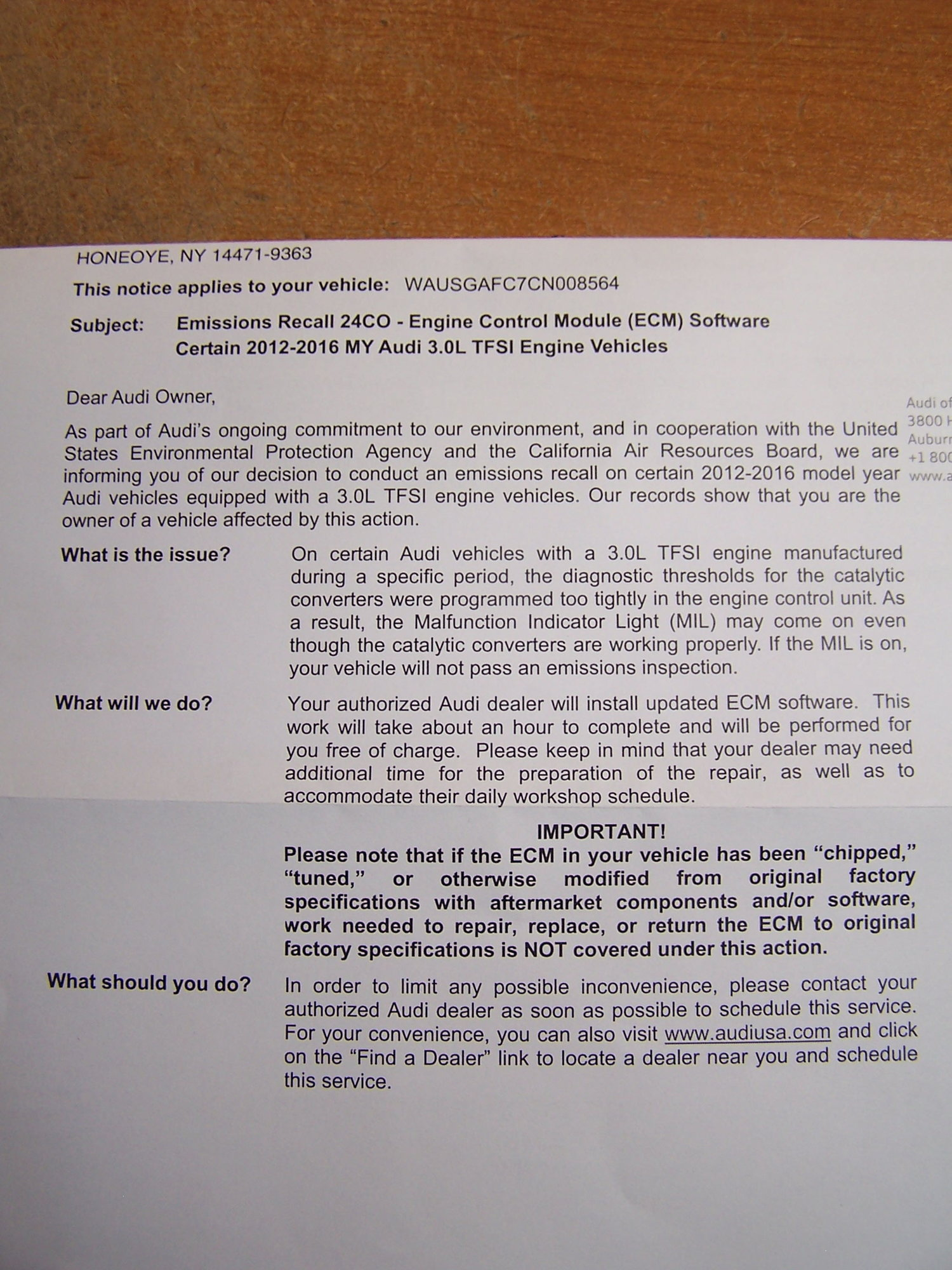 Emissions Recall Notice - ECM Software - AudiWorld Forums