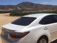 2015 LEXUS ES 350 STARFIRE PEARL bought as CPO with 36K miles. Purchased aftermarket rear window spoiler. 35% tint.
