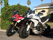 My white Multistrada with Brian's PPE.