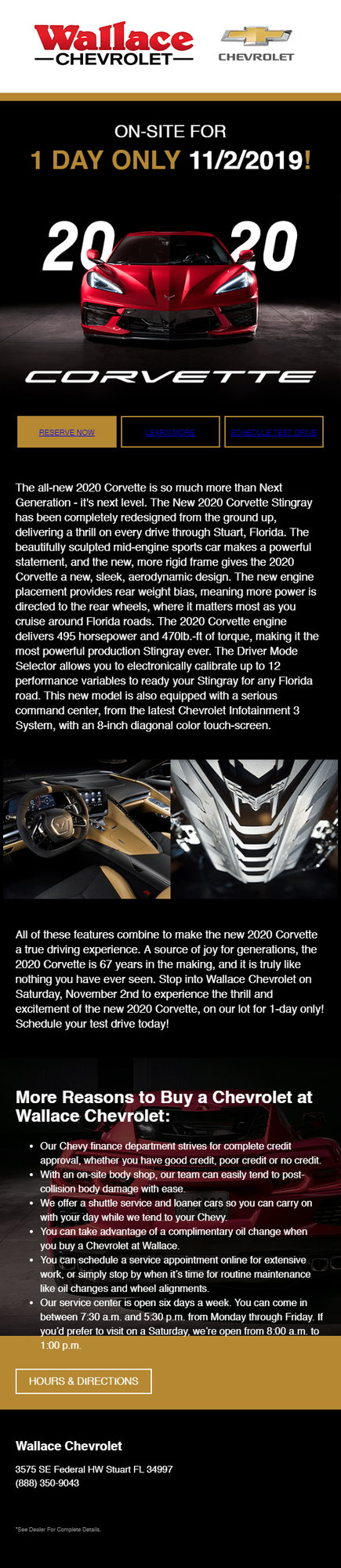 Wallace Chevrolet Stuart Fl >> Wallace Chevrolet In Florida To Have 2020 Corvette