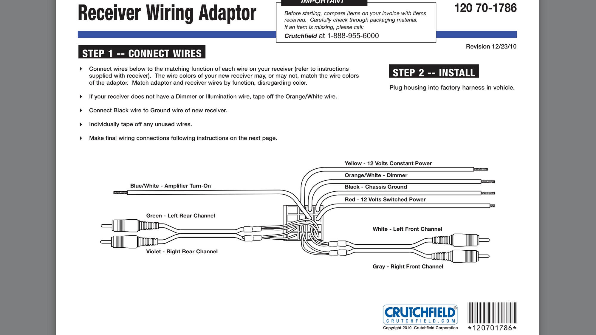 Crutchfield suggested Metra 70-1786: No sound - CrossfireForum - The on crutchfield subwoofer wiring, crutchfield sub diagram, crutchfield wiring guide, crutchfield wiring capacitor, crutchfield wiring gauge,