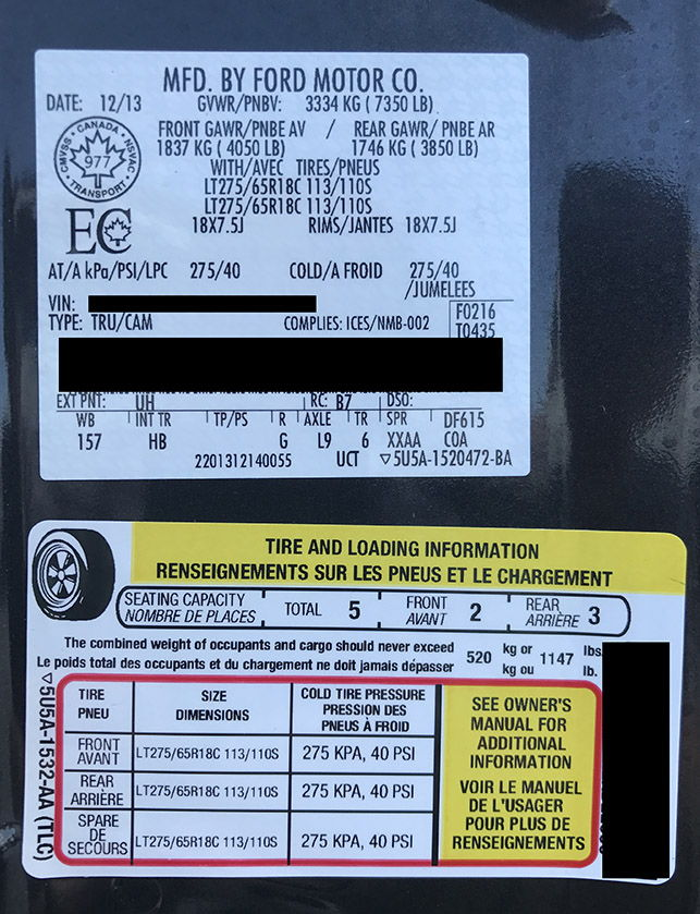 Tire Sticker And Size Question Ford F Forum Community Of - F 150 2014 avec sticker