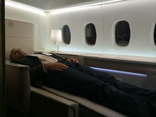 La Première Suite - Myself on the new seat (sleeping position - no I am not dead)