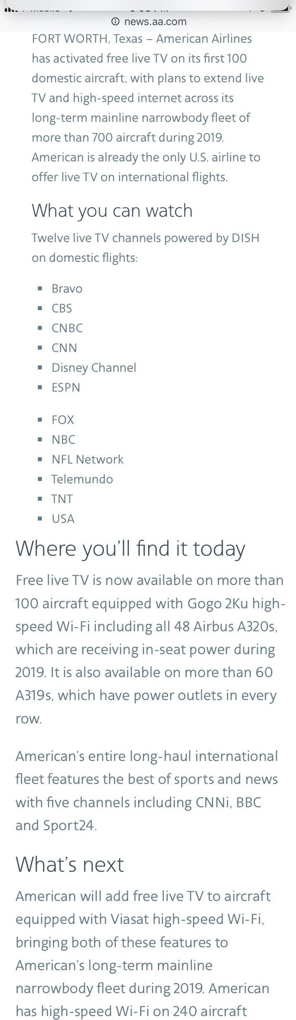 Live TV now on domestic aircraft with satellite WiFi - Page