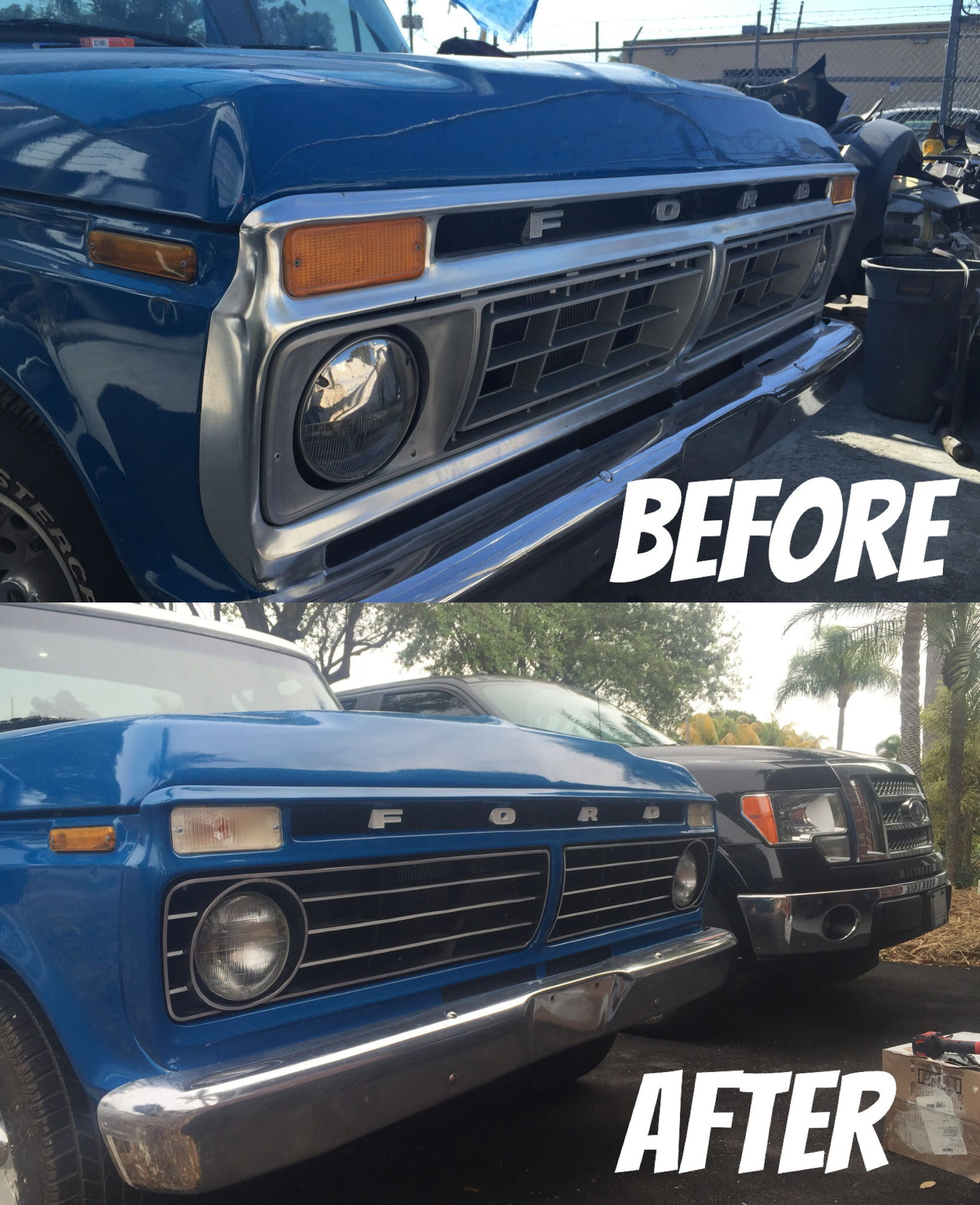 The final product including a 75 grill and turn signals