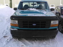 this is a pic of the front of my truck. as u can see it is winter where i live here in canada. thinking about making some changes to the look of the front once i start restoring.