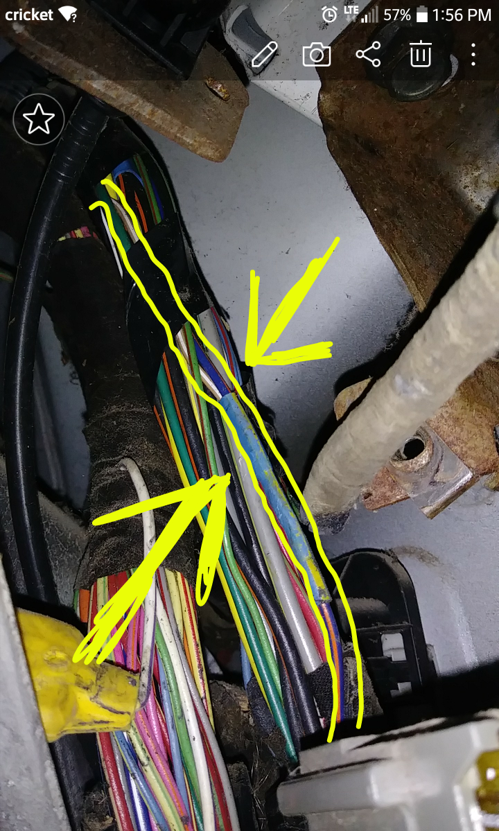 then      as i'm following it back to the fuse box  i see that it is  spliced into a blue w/ orange stripe wire, and then that wire goes directly  into the