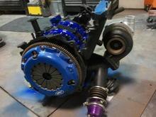 custom built divided manifold with hks V band wastegate