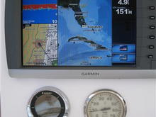 Garmin 4212.  Note faria gauges have lifetime warranty and I will have them reburbished asap for hazing.  Digital LMF-400 gauge is in place of stock speedometer (included).