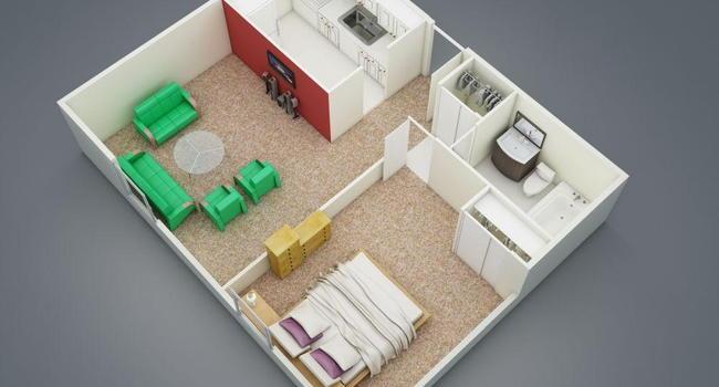 1 Bedroom / 1 Bath / 570 Sq.Ft.