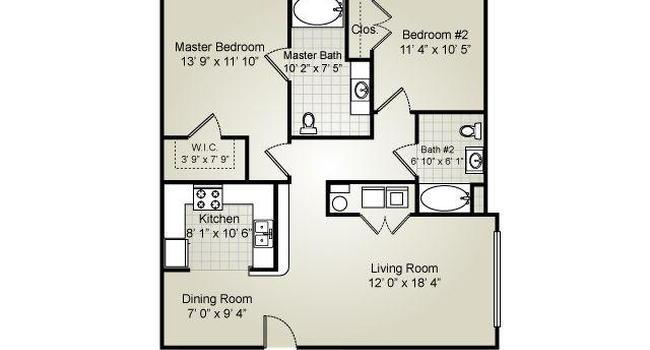 2 Bedroom / 2 Bath / 1025 Sq.Ft.